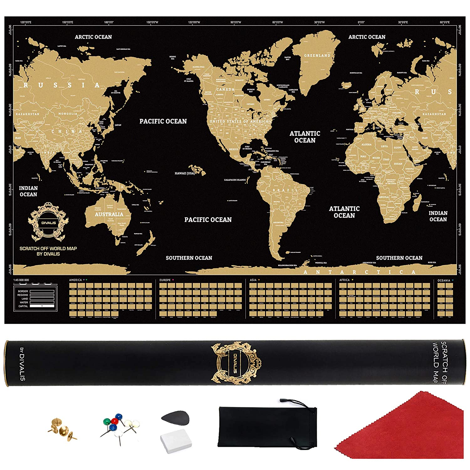 Amazon Com Scratch Off World Map Poster With Us States Extra