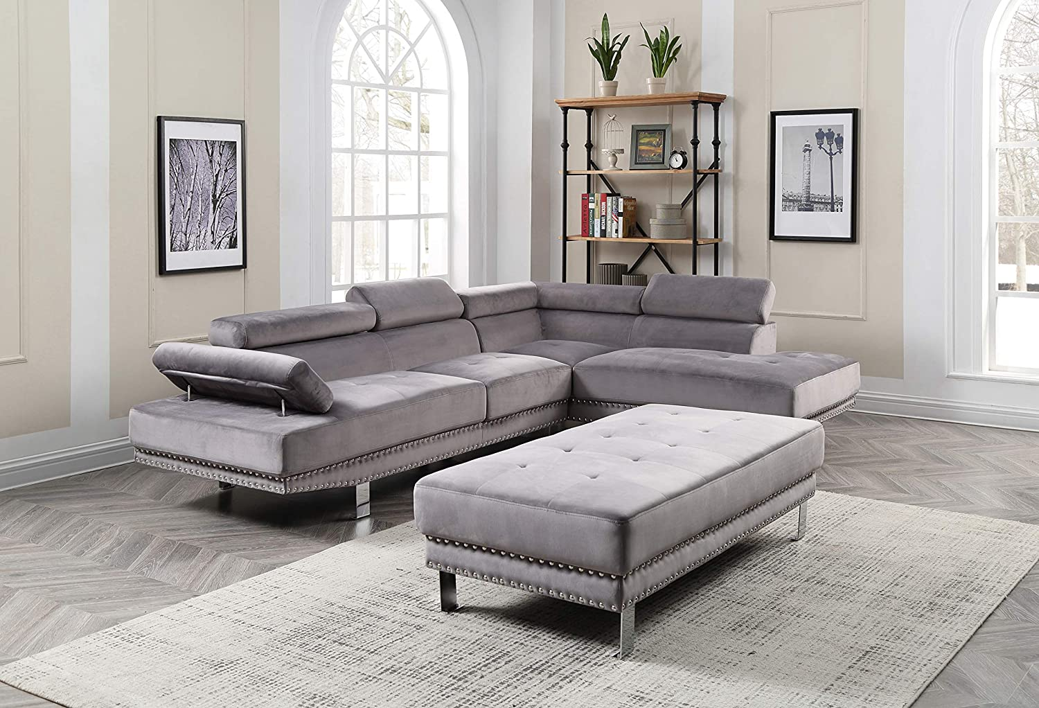 Amazon.com: Glory Furniture Derek G371-SC Sectional, Gray ...