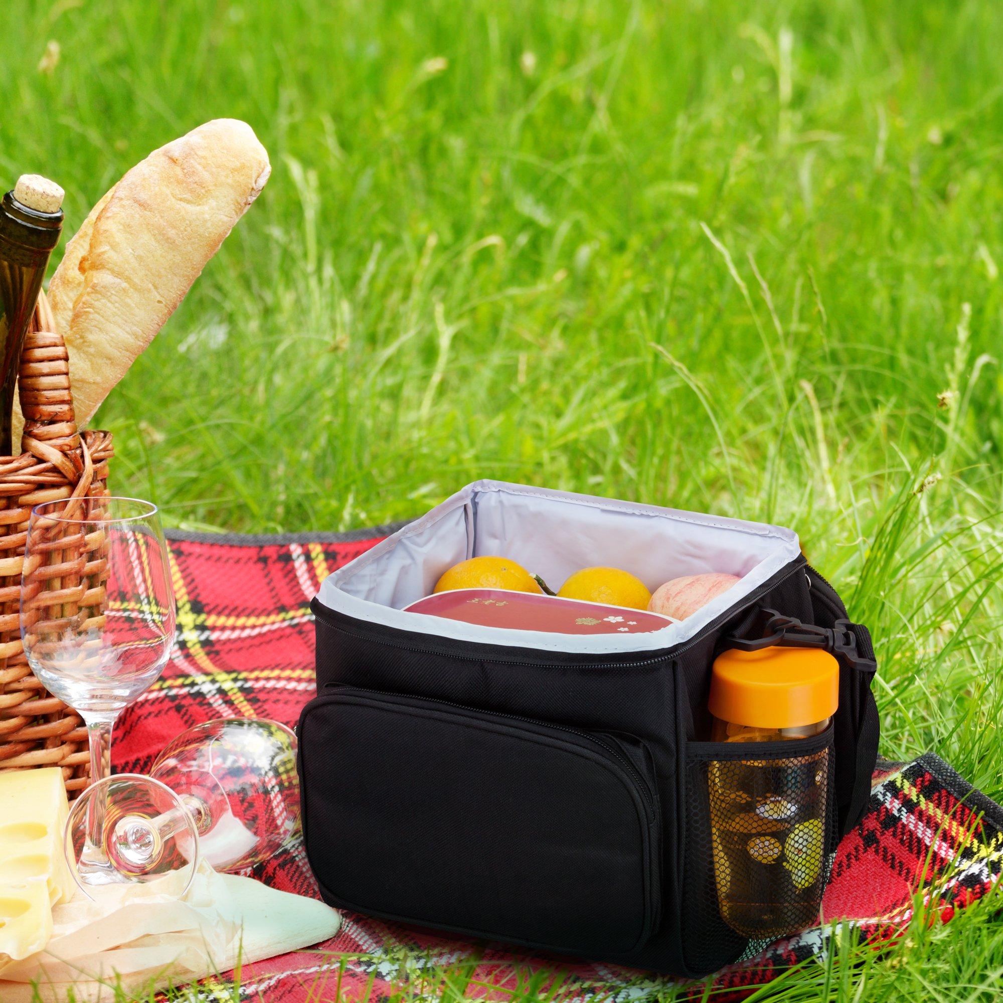 Adult Lunch Box Insulated Lunch Bag Large Cooler Tote Bag for Men & Women, Double Deck Heat-resistant Cooler with Adjustable Shoulder Handbag(black)