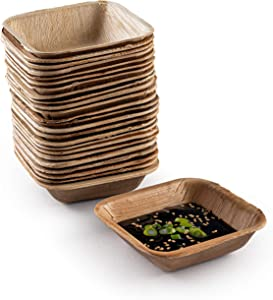 Brheez 4 Inch Square Heavy Duty Palm Leaf Disposable Bowls | Eco-Friendly & 100% Natural | Elegant Bamboo Look | Biodegradable & Compostable Bowl | Paper Alternative | Pack of 25