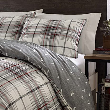3pc Grey Red White Plaid Duvet Cover King Set, Deer Pattern Flannel Cotton,  Tartan