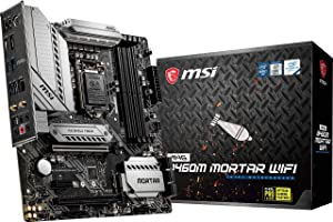 MSI MAG B460M Mortar WiFi Gaming Motherboard (mATX, 10th Gen Intel Core, LGA 1200 Socket, DDR4, CFX, Dual M.2 Slots, USB 3.2 Gen 1, 2.5G LAN, DP/HDMI, Wi-Fi 6 Pre-Certified)