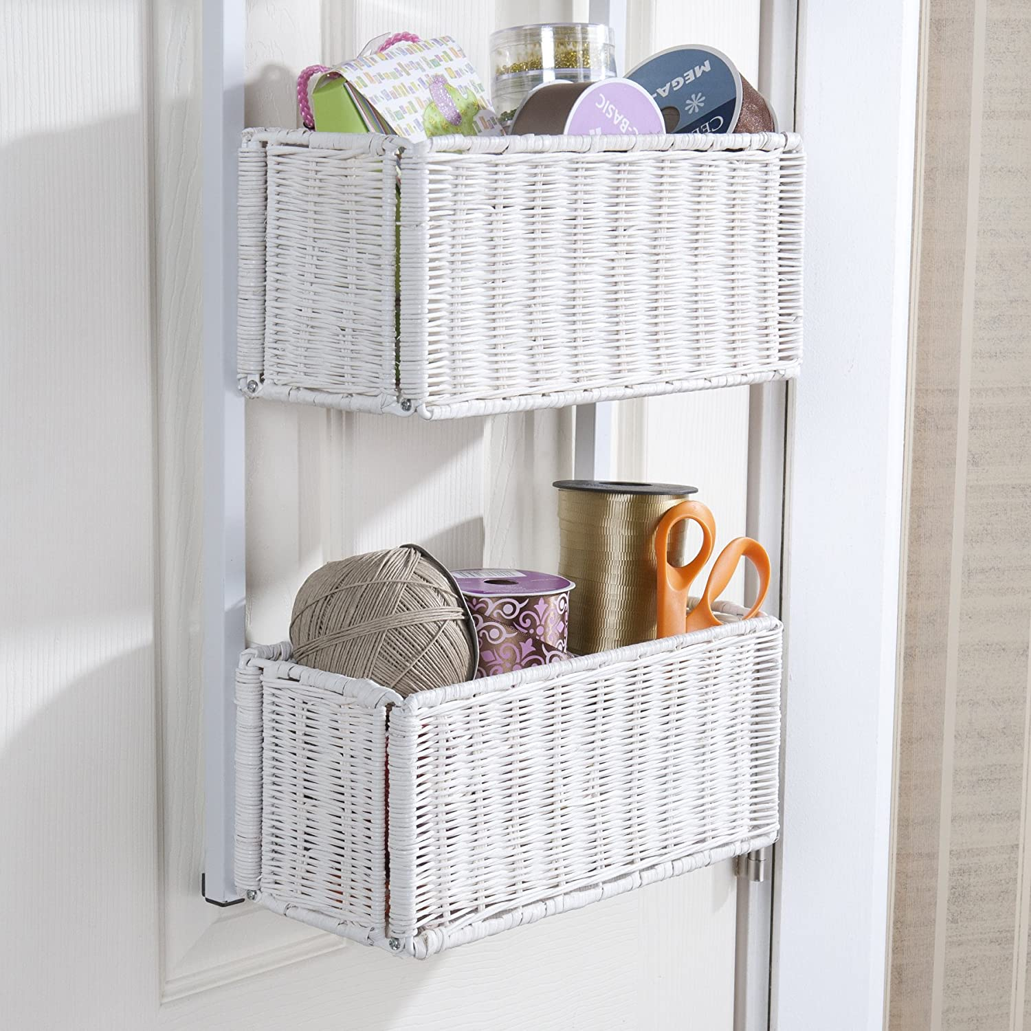 Amazon.com Southern Enterprise Over-The-Door 3-Tier Woven Basket Storage White Finish Home u0026 Kitchen : door basket - Pezcame.Com
