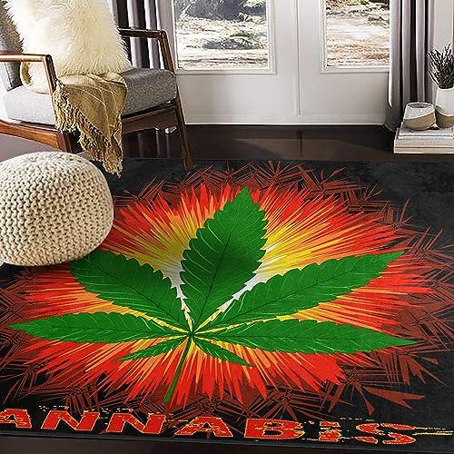ALAZA Funny Marijuana Leaf Word Cannabis Area Rug Rug