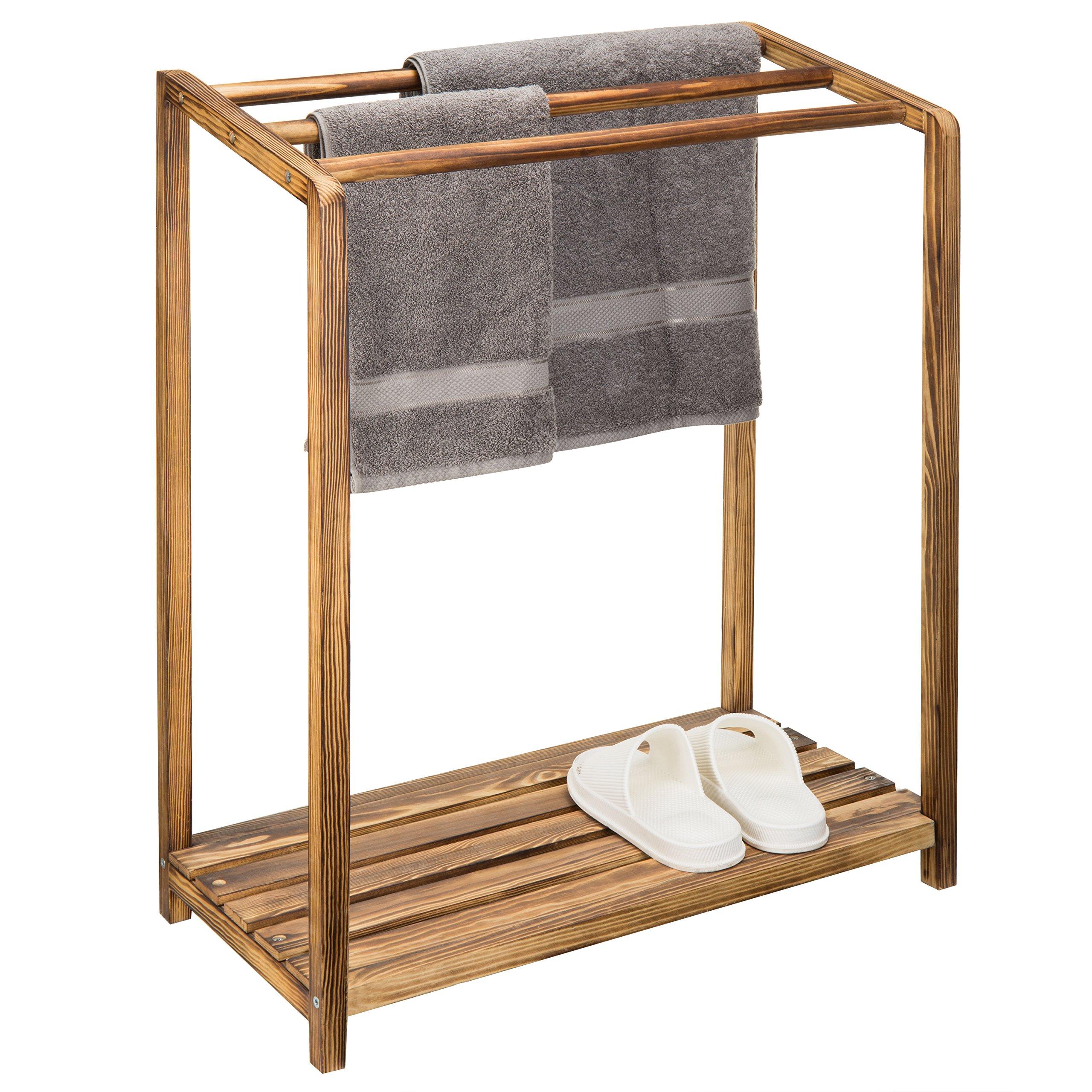 MyGift 3-Bar Rustic Wood Towel Rack with Bottom Shelf