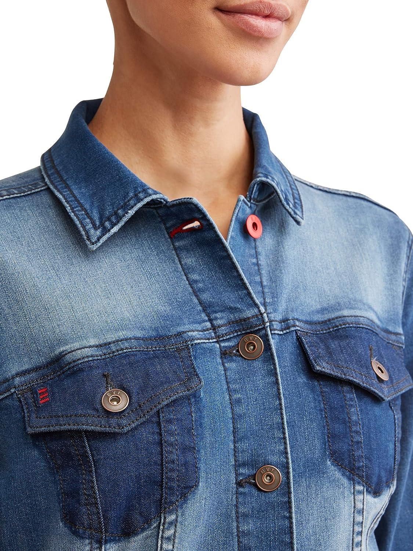 Medium Enzyme Wash EV1 from Ellen DeGeneres Womens Patchwork Denim Jacket
