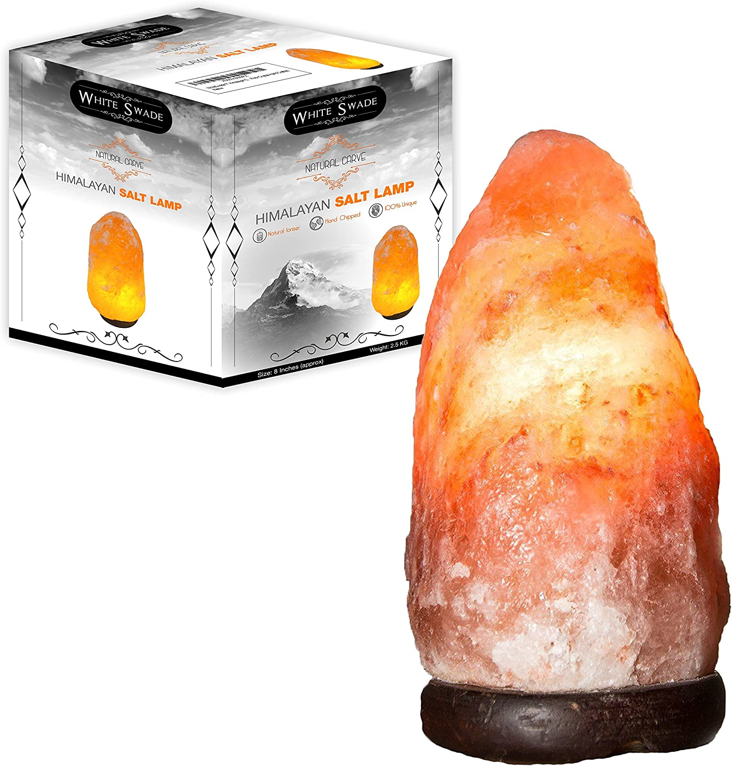 WhiteSwade Large Pink Crystal Himalayan Salt Lamp with UL CERTIFIED Dimmer Switch. Neem Wood Base and 15W Bulb, 6 ft Cord. Air Ionizer and Purifier. Perfect Gift Idea. Popular Feng Shui Decor