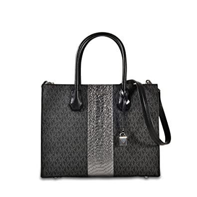 fcbc3564acc8a Amazon.com  MICHAEL Michael Kors - Mercer Large Convertible Tote (Black) Tote  Handbags  Shoes