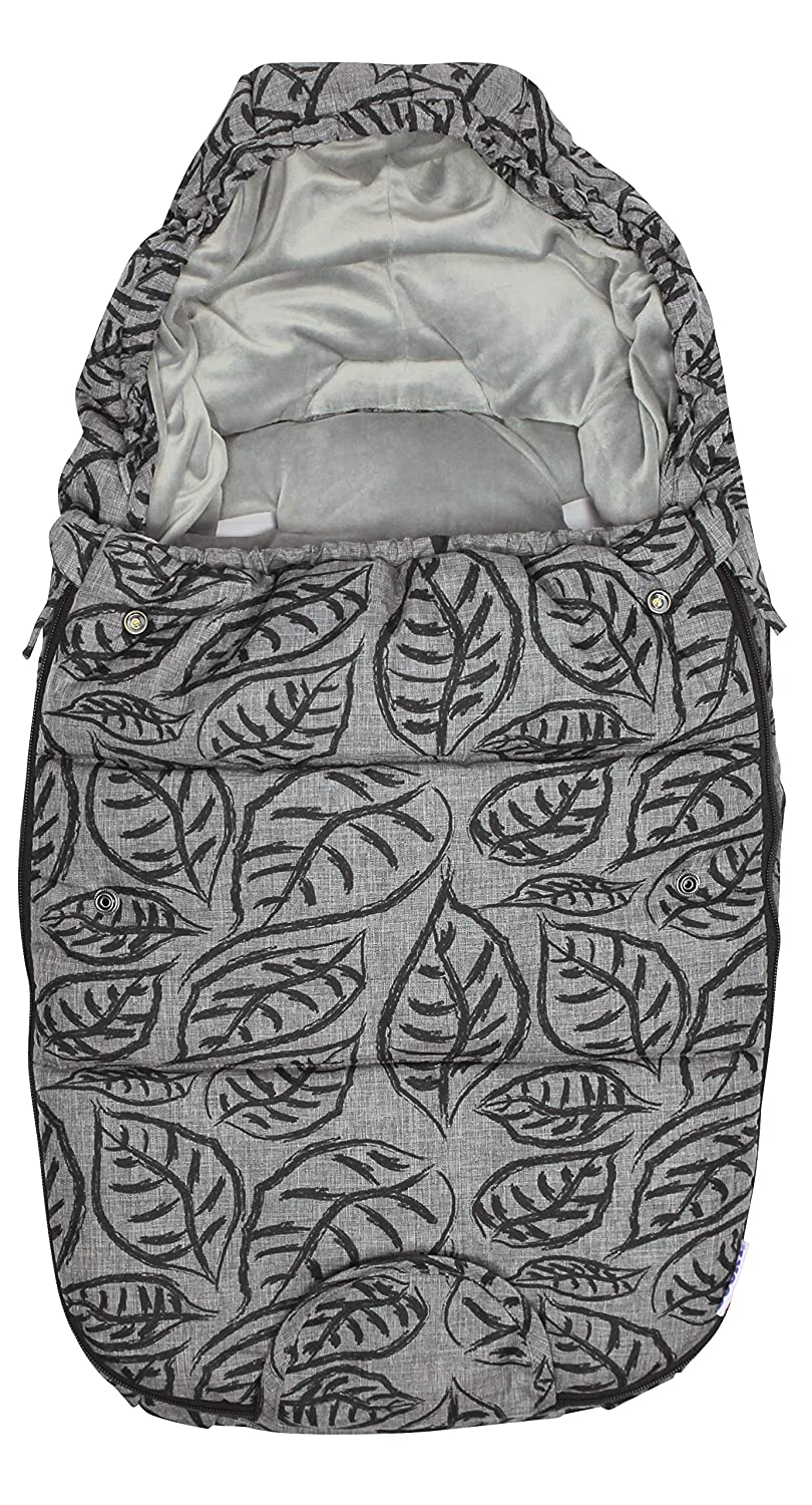 Dooky Luxury Footmuff Small Grey Leaves