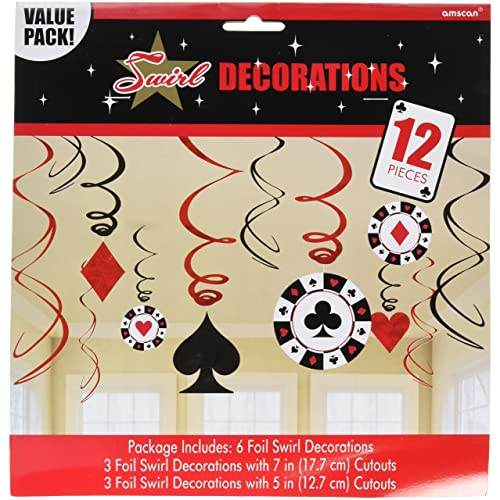 casino foil swirl hanging party decoration value pack of 12 pieces