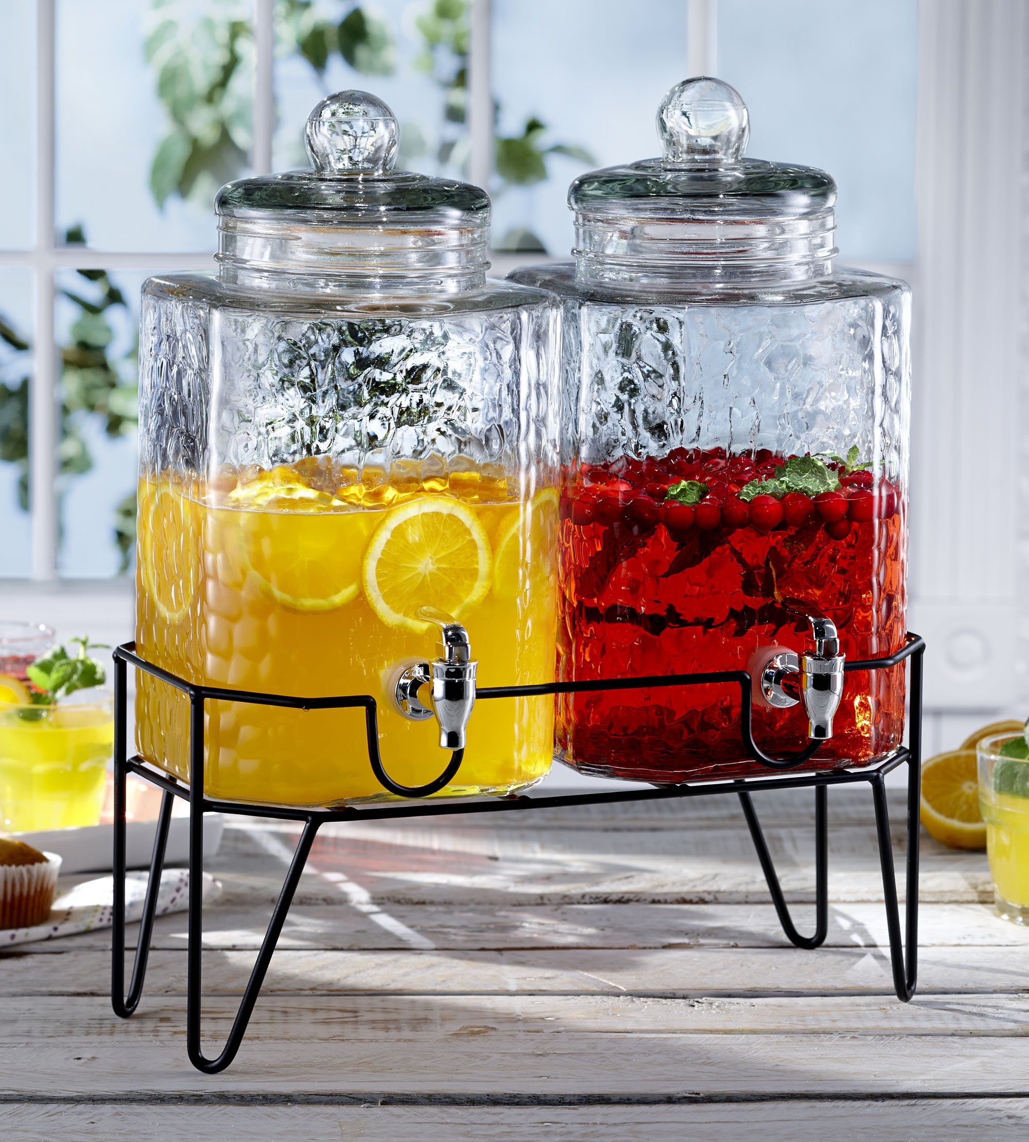 Style Setter Hamburg 210266-GB 1.5 Gallon Each Glass Beverage Drink Dispensers with Metal Stand (Set of 2), 8.2 x 16.8'' Clear by Style Setter (Image #2)