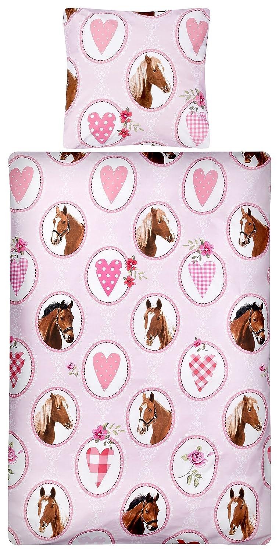 Aminata Kids Bettwäsche 135x200 cm Kinder Mädchen braune Pferde Digitaldruck Baumwolle Reißverschluss Rosa Pink Pferd Pony Tiere Fohlen Reiterhof Bauernhof Bettbezug Bettwäscheset Kinderbettwäsche