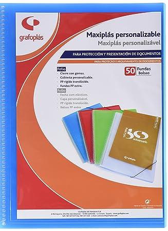 Grafoplas 39835830 - Carpeta de 50 fundas, tamaño folio, bolsa canguro, color azul: Amazon.es: Oficina y papelería