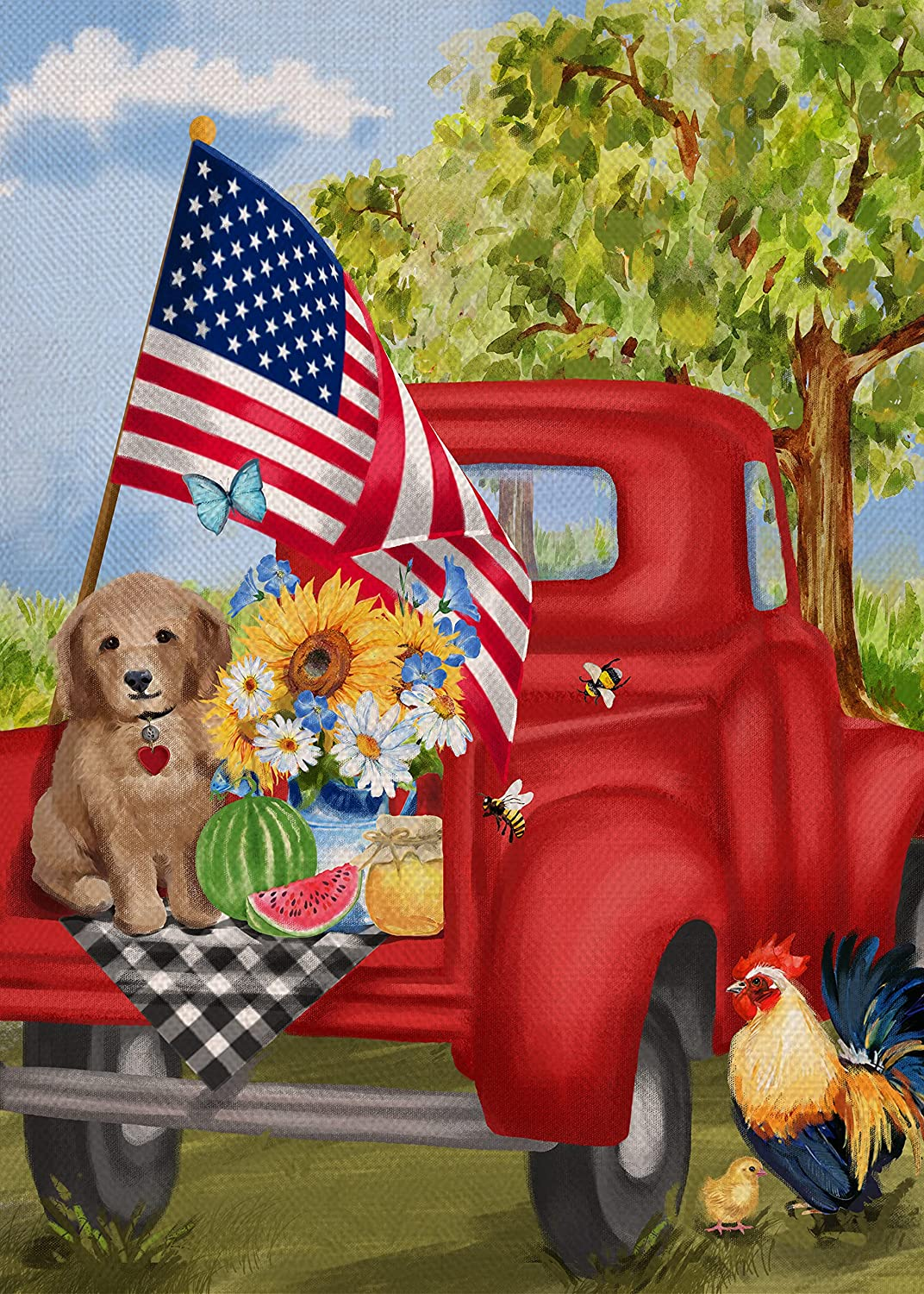 Covido Home Decorative Red Truck Dog Garden Flag, American July 4th House Yard Outside Decor Summer Watermelon Flower Plaid Decorations, USA Patriotic Farmhouse Outdoor Small Flag Double Sided 12 x 18