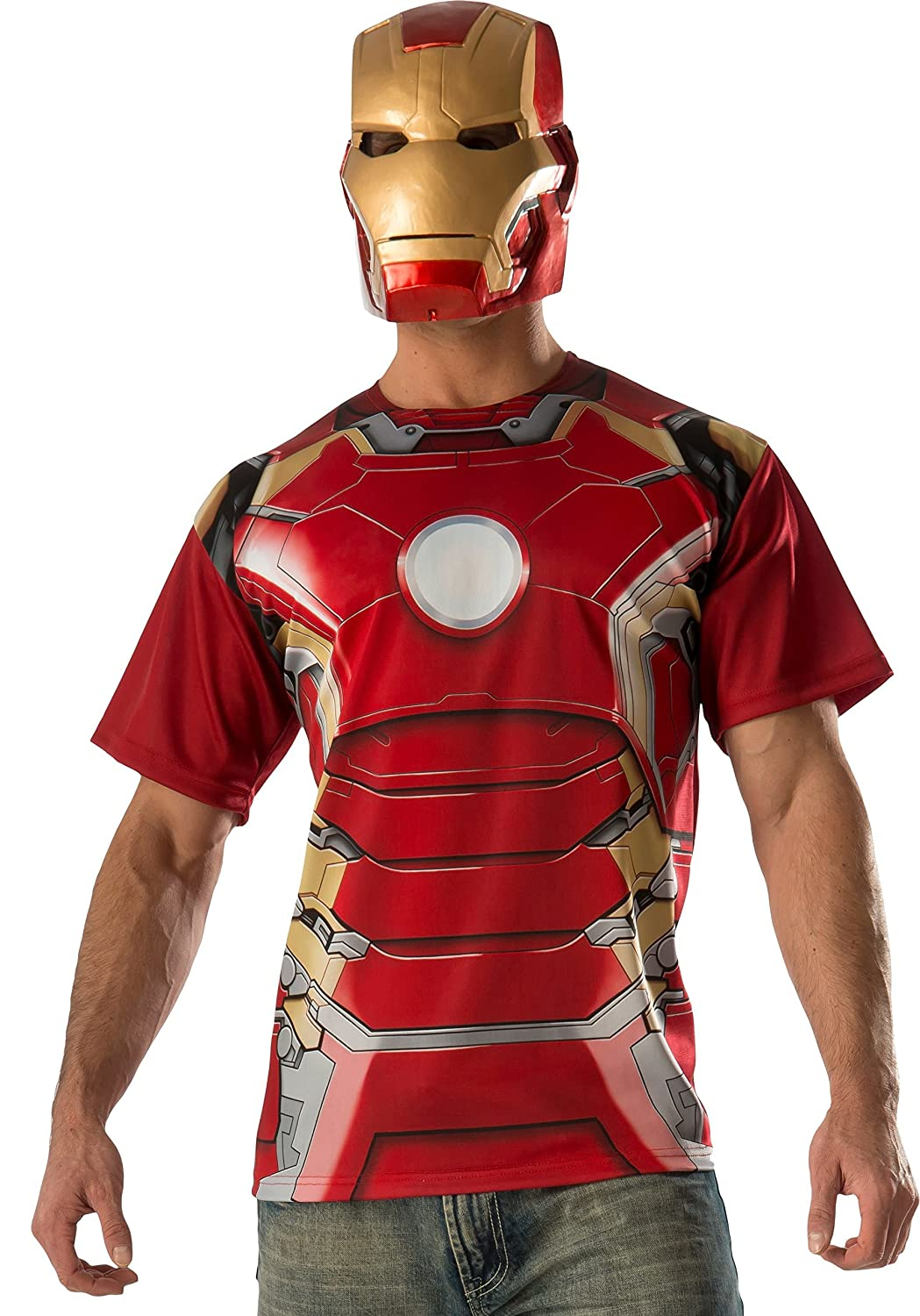 Rubie's Costume Co Men's Avengers 2 Age of Mark 43 Iron Man T-Shirt and Mask Rubies Costumes - Apparel 810297