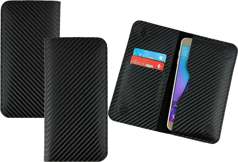 Emartbuy Negro Carbono Fibre Finish Cuero PU Magnética Delgada Funda Carcasa Case Tipo Bolsa (Size LM4) Conveniente para Los Smartphones Enumerados Abajo: Amazon.es: Electrónica