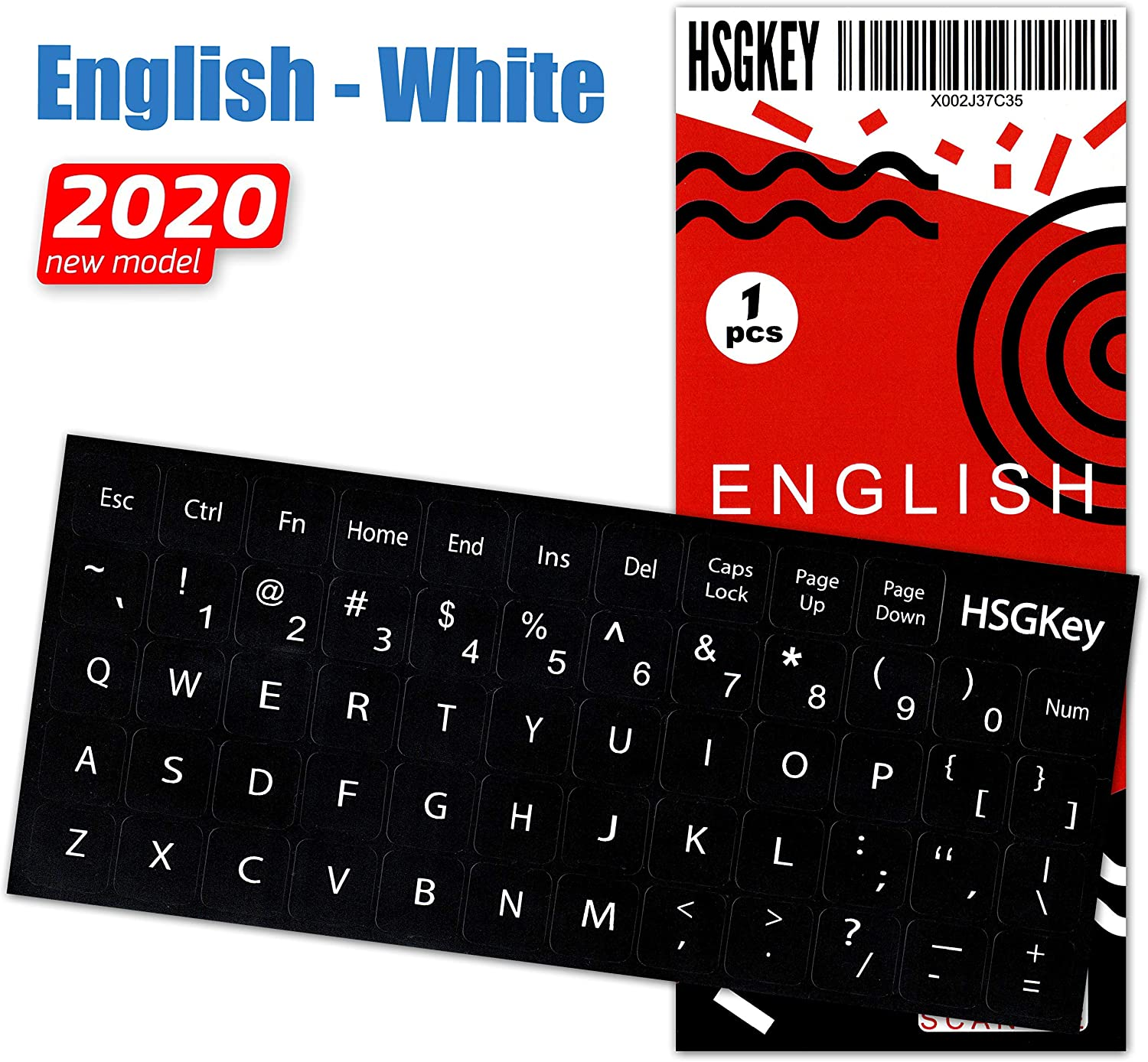 English Keyboard Stickers Replacement White Big Lettering Black Background for MacBook Air Pro Computer Laptop Desktop PC Mac English Ergonomic, Unit Size: 0.47x0.47 (Matte)