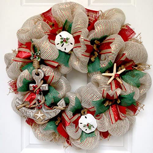 Nautical Christmas Wreath.Amazon Com Coastal Christmas Wreath Handmade Deco Mesh With
