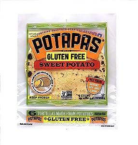 Potapas, Sweet Potato Tortillas, Gluten Free, 6 Tortillas per Pack, 8-pack, 48 Tortillas