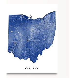 Amazoncom OHIO STATE ROAD MAP GLOSSY POSTER PICTURE PHOTO city