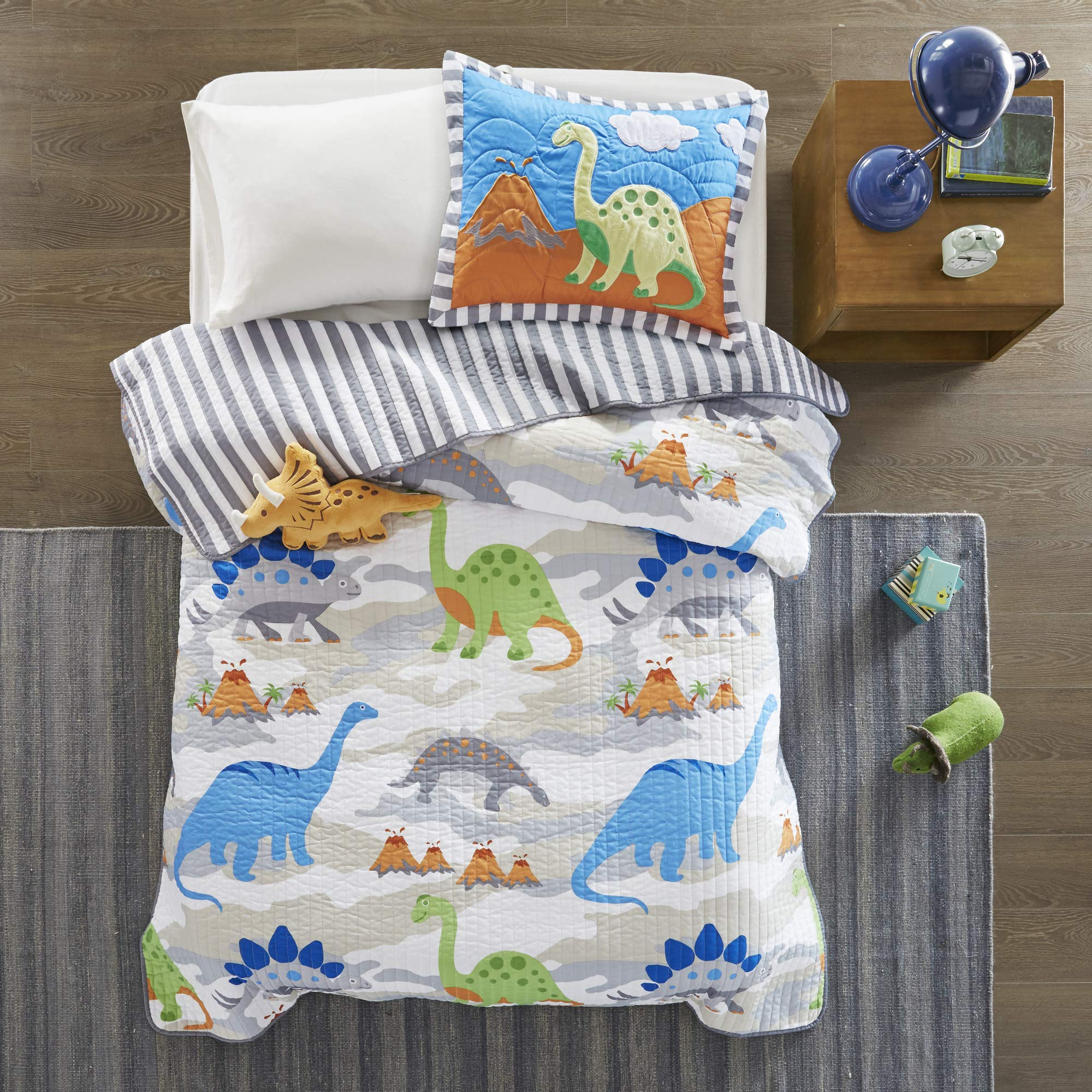 Mi Zone Kids Little Foot Twin Bedding Sets Boys Quilt Set - Grey, Blue, Orange , Dinosaur - 3 Piece Kids Quilt For Boys - Cotton Filling Ultra Soft Microfiber Quilt Sets Coverlet by Mi-Zone