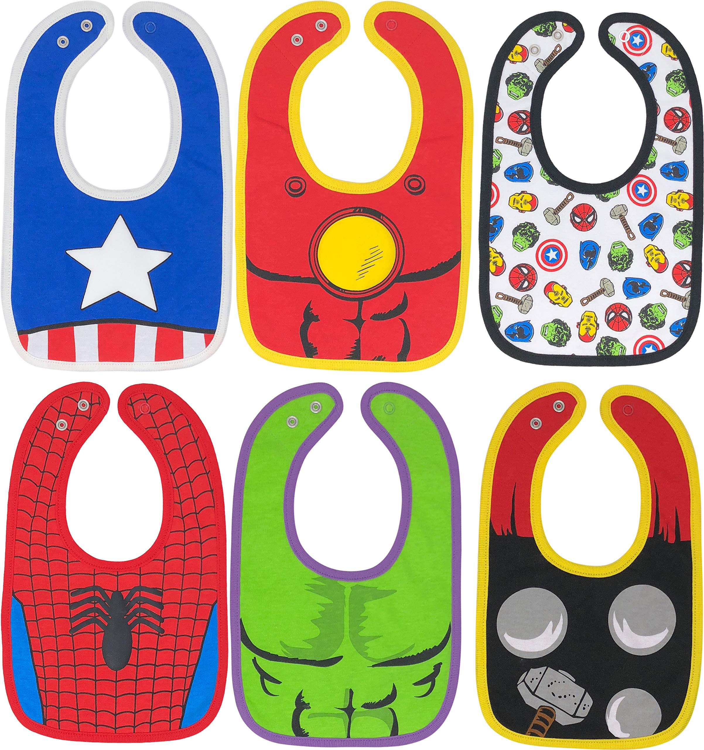 Marvel Avengers Baby Boys' Bibs 6 Pack Spiderman Hulk Thor Iron Man Captain America