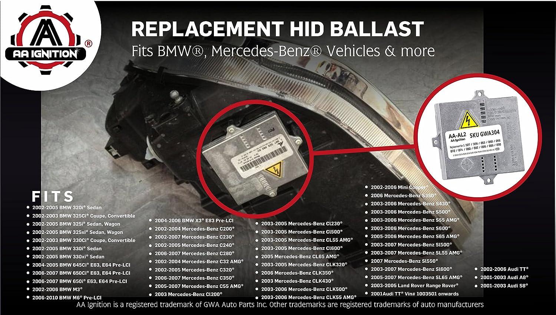 HID Xenon Ballast Fits Land Rover Range Rover C350 Replaces# 307 329 053 307 329 074 more AA Ignition 4350366506 Mercedes Benz C230 BMW 325i 330i 307 329072 E46 A8 X3 E83 Control Unit Module E63 Audi TT