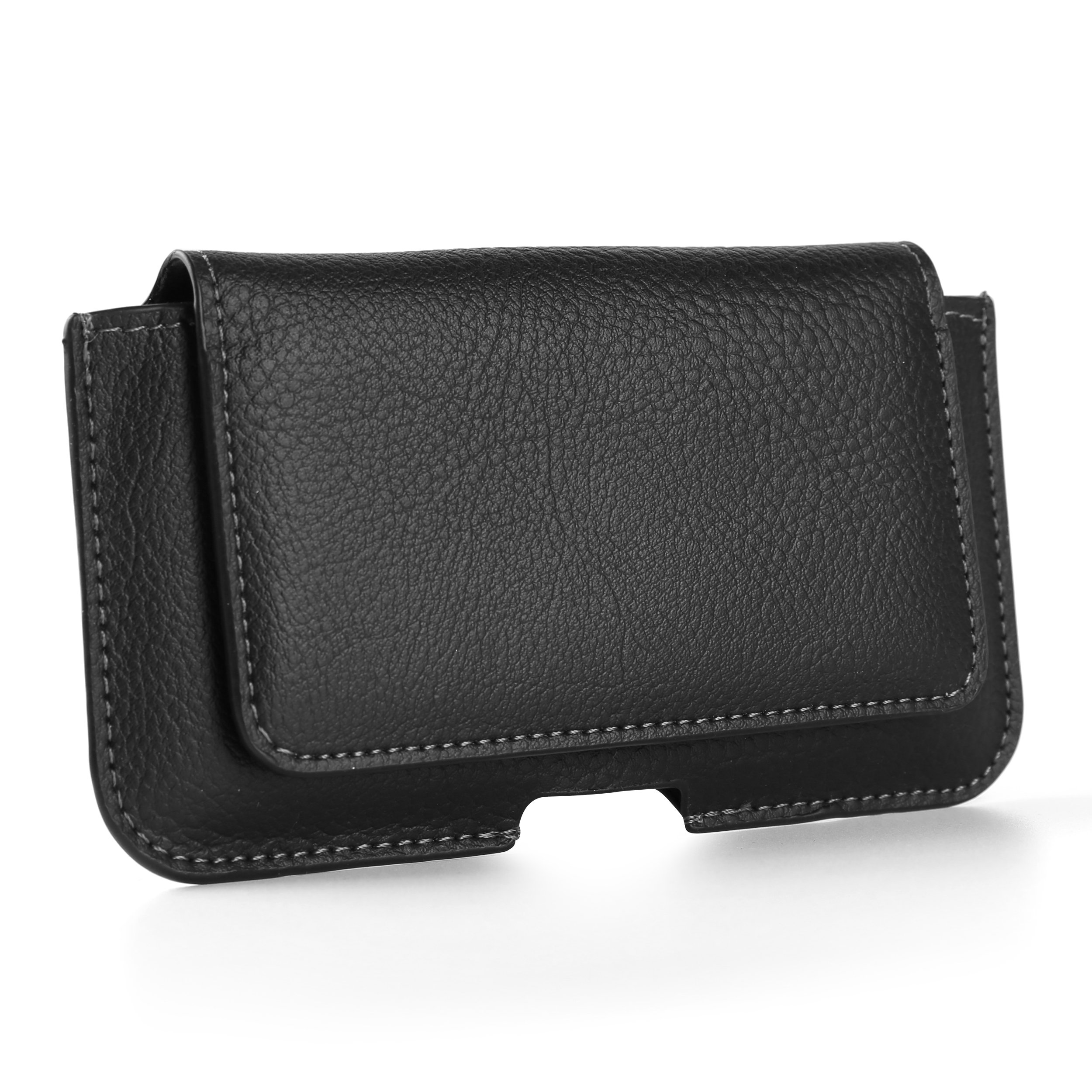 Universal Premium PU Leather Wallet design horizontal Pouch Case Cover Holster with Card Slot and Magnetic Closure & Belt Loop for Samsung Galaxy S7 / S6 Fit up to 5.1 Inch Ios Android Windows Smart Phone (Black)