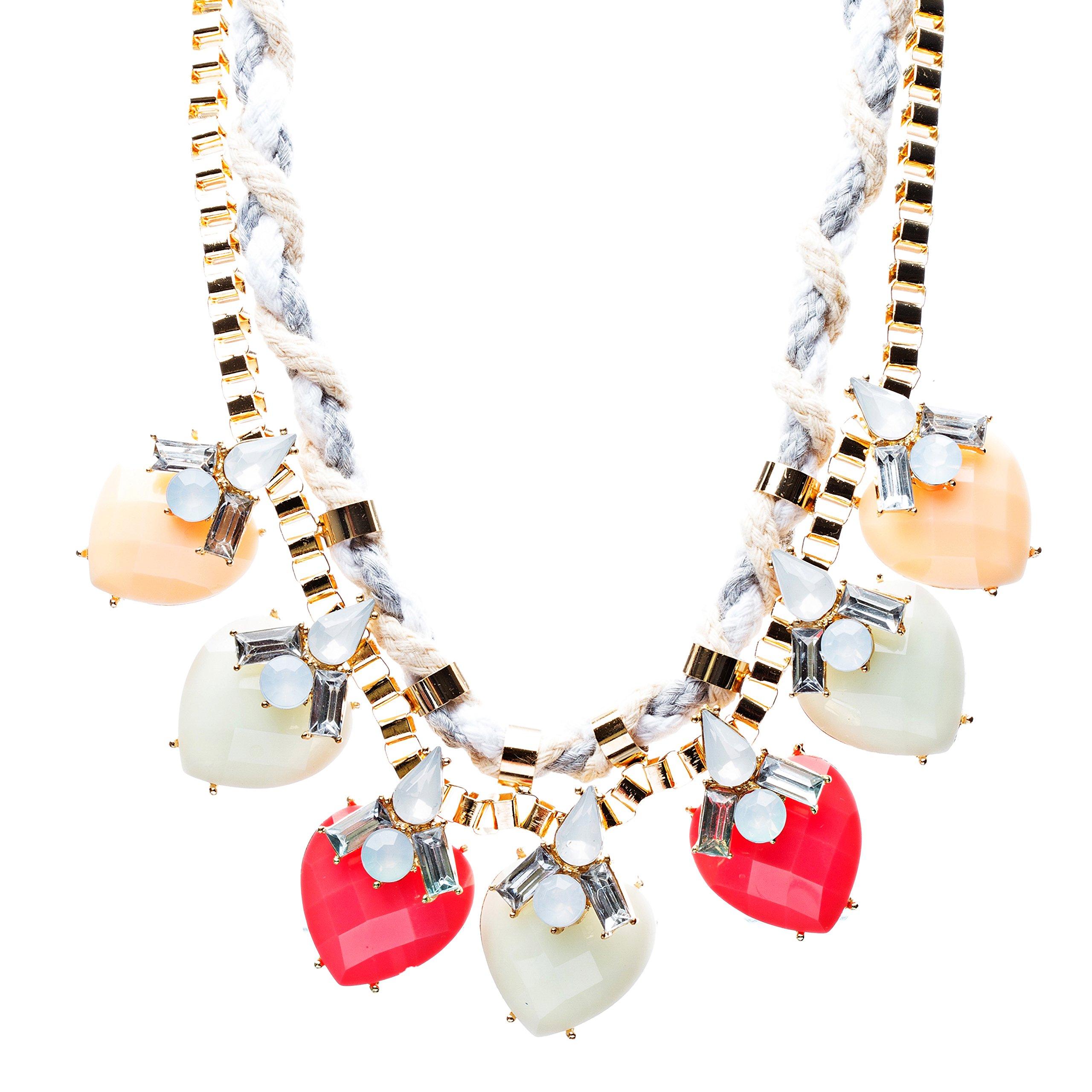 Modern Fashion Crystal Rhinestone Vibrant Heart Shape Necklace N75 MTA