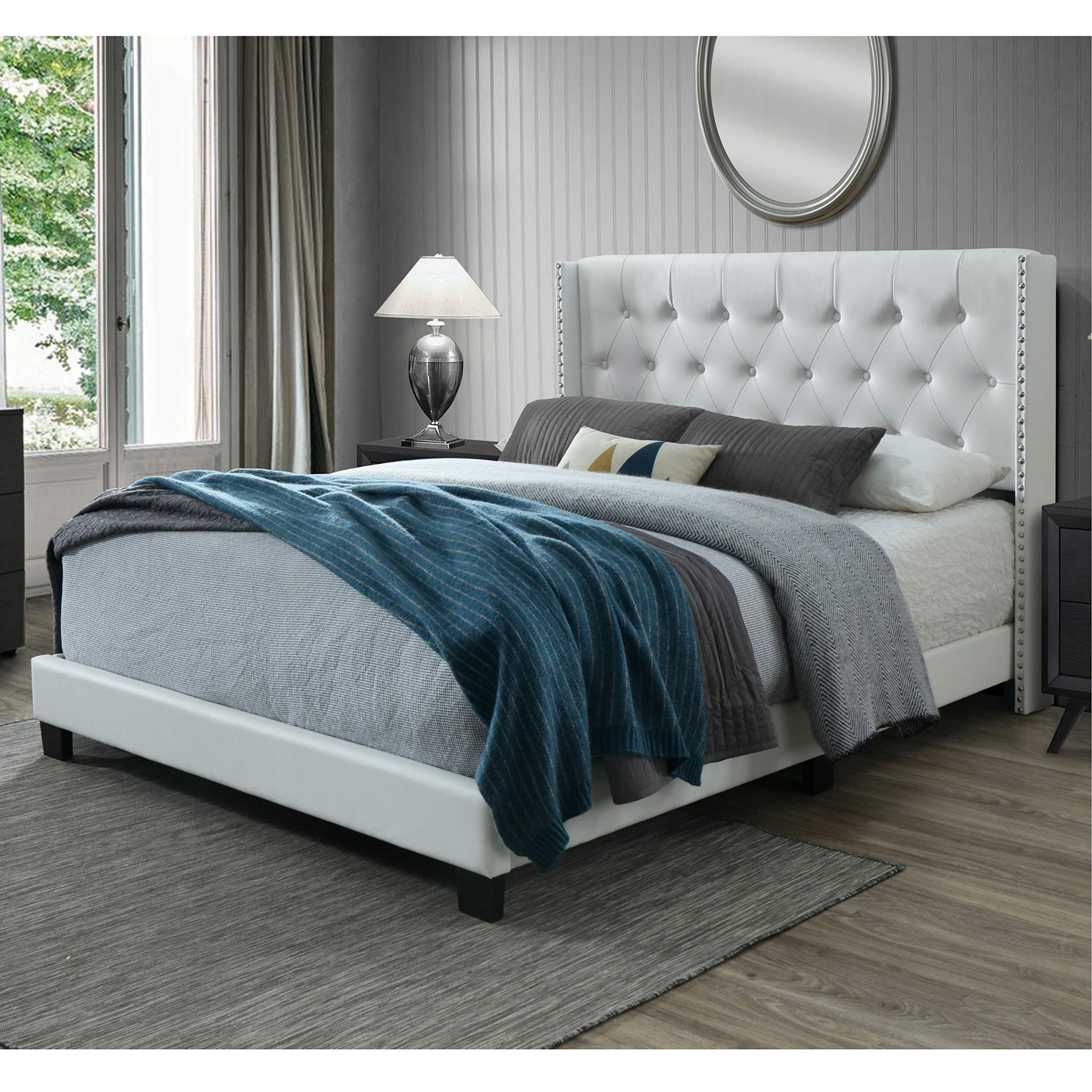 DG Casa 12850-Q-WHT Bardy Diamond Tufted Upholstered Wingback Panel Bed Frame, Queen Size in White Faux Leather by DG Casa