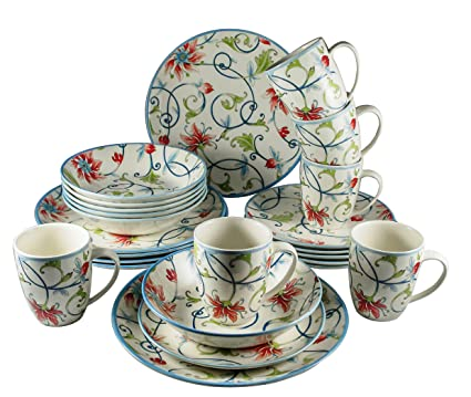 Tudor 24-Piece Porcelain Dinnerware Set Service for 6 - BOTANICAL Spiral Pattern  sc 1 st  Amazon.com & Amazon.com   Tudor 24-Piece Porcelain Dinnerware Set Service for 6 ...