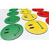 Smileyboard Lot de 30aimants multicolores au motif smiley 10smileys souriants jaunes, 10 smileys neutres jaunes et 10smileys rouges tristes pour présentations, cours, projet de travail, formation..