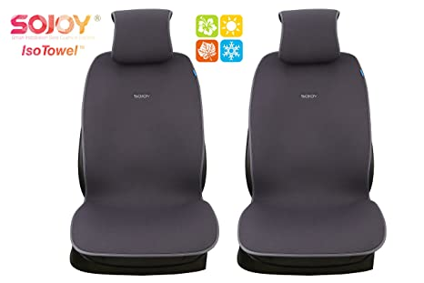 Sojoy Universal Four Season Fashionable Car Seat Cushion Cover For Front Of 2 Seats Gray