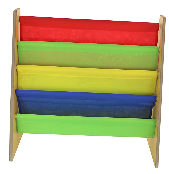 Kids Book Storage Rack Wooden Sling Bookshelf Childrens Bookcase Shelves With Primary Colours By Nuovva
