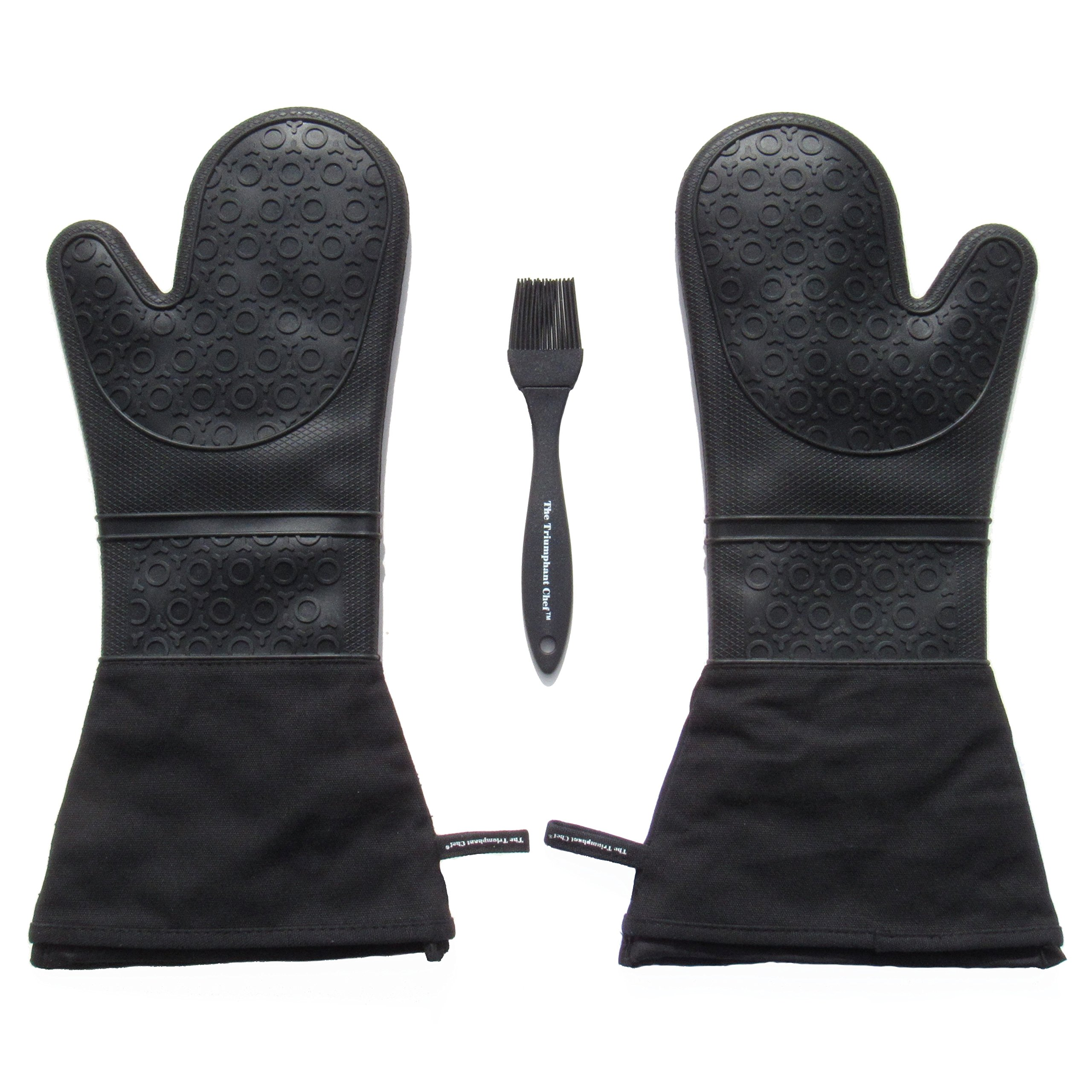 The Triumphant Chef Super Flex Extra Long 17'' Silicone Oven Mitt, Removable Quilted Liner, 1 Pair, Bonus Brush (Charcoal Black)
