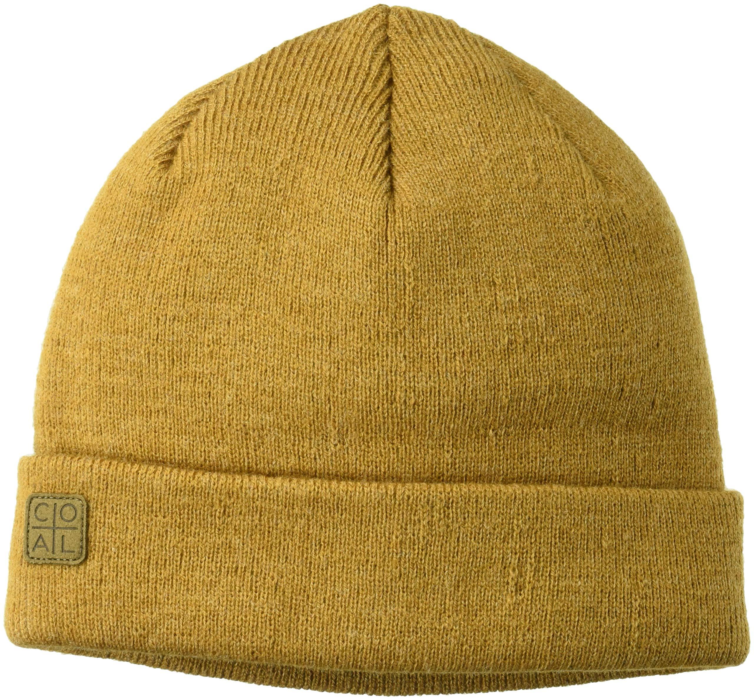 Coal Men's The Harbor Classic Fine Knit Cuffed Beanie Hat, Heather Mustard, Low Profile
