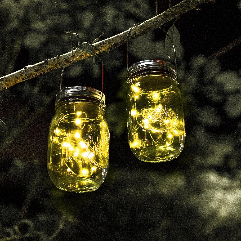 Schlussverkauf Solar Mason Jar Licht Jar Fee Licht Wasserdichte Glasgläser Garten
