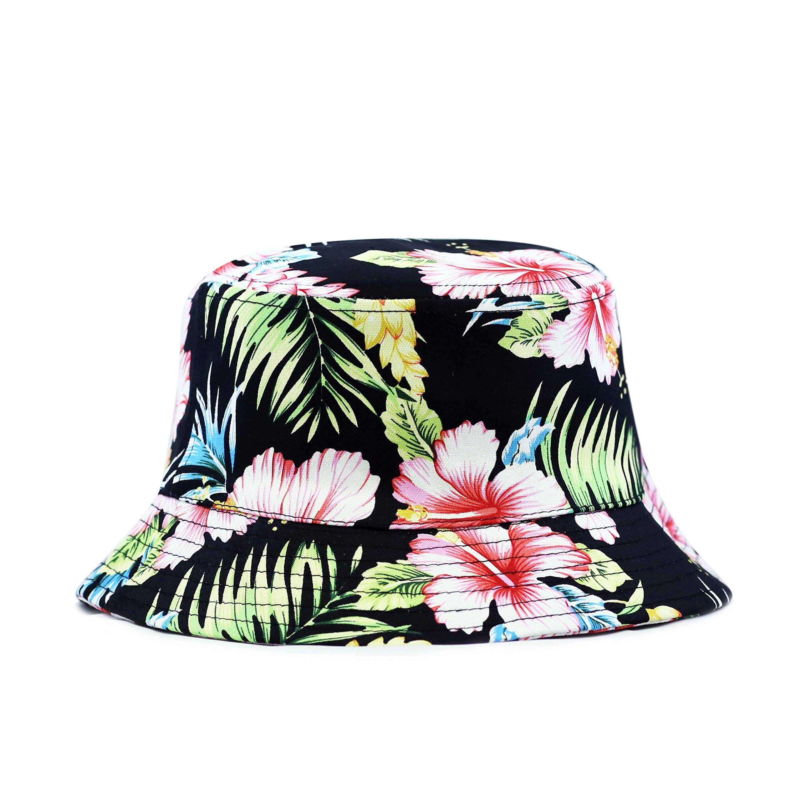 The Hat Depot 200hf1400 Hawaiian Flower Bucket Hat - 2 Colors (L/XL, Black/Red)