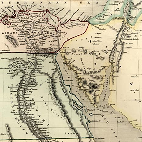 Amazon Com Egypt North Africa Sinai Arabia C 1840 Old Dower Map Orr