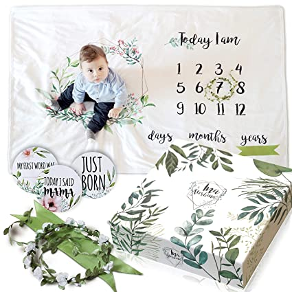 Floral Plush Fleece Baby Photography for Baby Monthly Milestone Blanket Girl