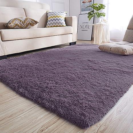 junovo Ultra Soft Contemporary Fluffy Indoor Area Rugs Home Decor Rug Mats  Living Room Bedroom Rugs Dormitory Carpet 4x5.3 Feet, Grey-Purple