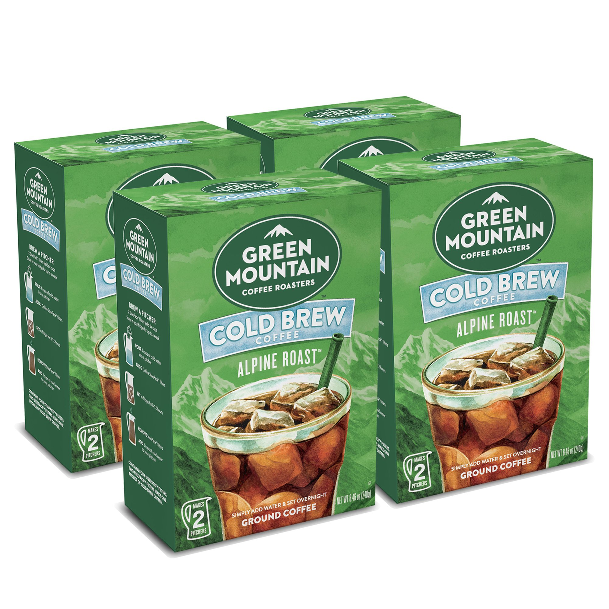 Green Mountain Coffee Roasters, Cold Brew Coffee, Alpine Roast, Dark Roast Coffee, Coarse Ground, Makes 2- 48oz. Pitchers of Real Cold Brew Coffee, Comes with 4 SteePack Coffee Filters (4 Pack)