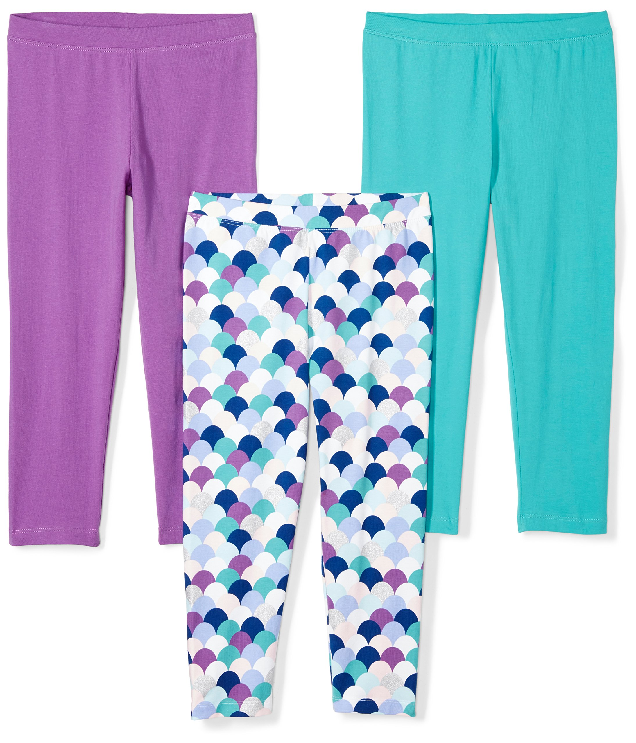 Spotted Zebra Girls' Big 3-Pack Capri Leggings, Mermaid, Medium (8) by Spotted Zebra