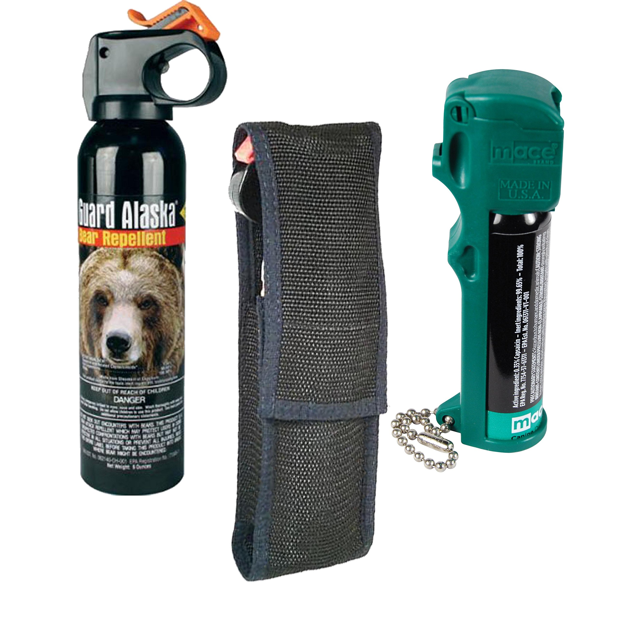 Guard Alaska Bear Spray, Holster and Mace Dog Muzzle Pepper Spray Bundle