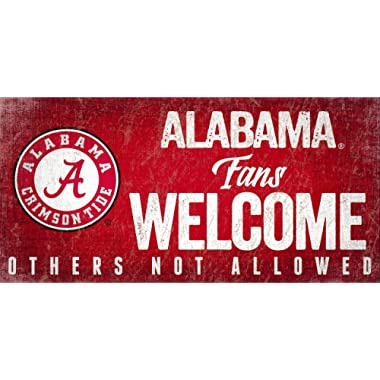 Alabama Crimson Tide 6  x 12  Fans Welcome Others not Allowed Wood Sign