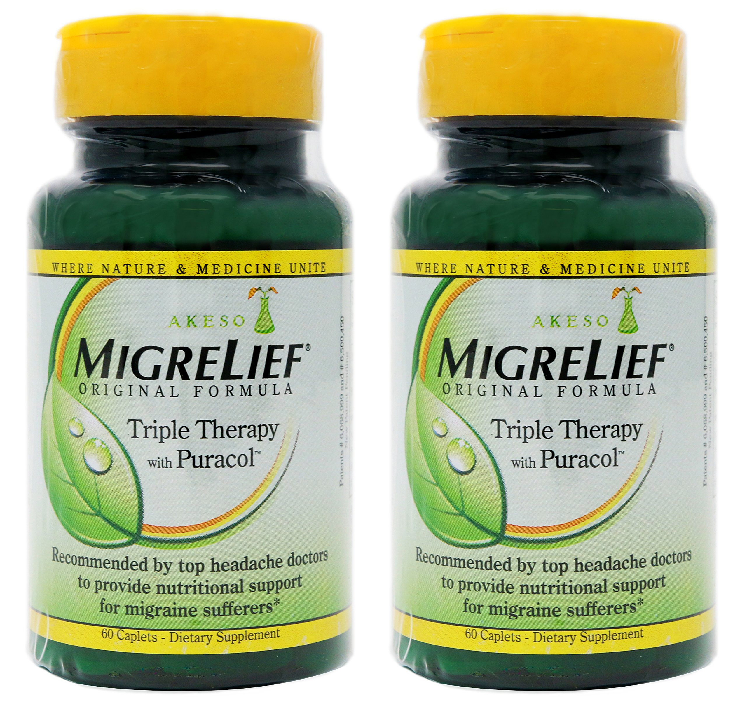 MigreLief Original Formula Triple Therapy with Puracol Caplets 60 Caplets (Pack of 2) by MigreLief