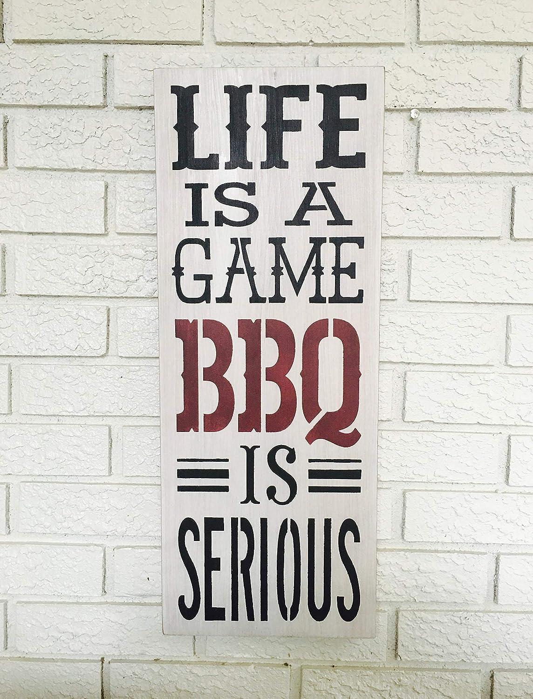BBQ Letrero de Madera con Texto en inglés Life Is A Game BBQ ...