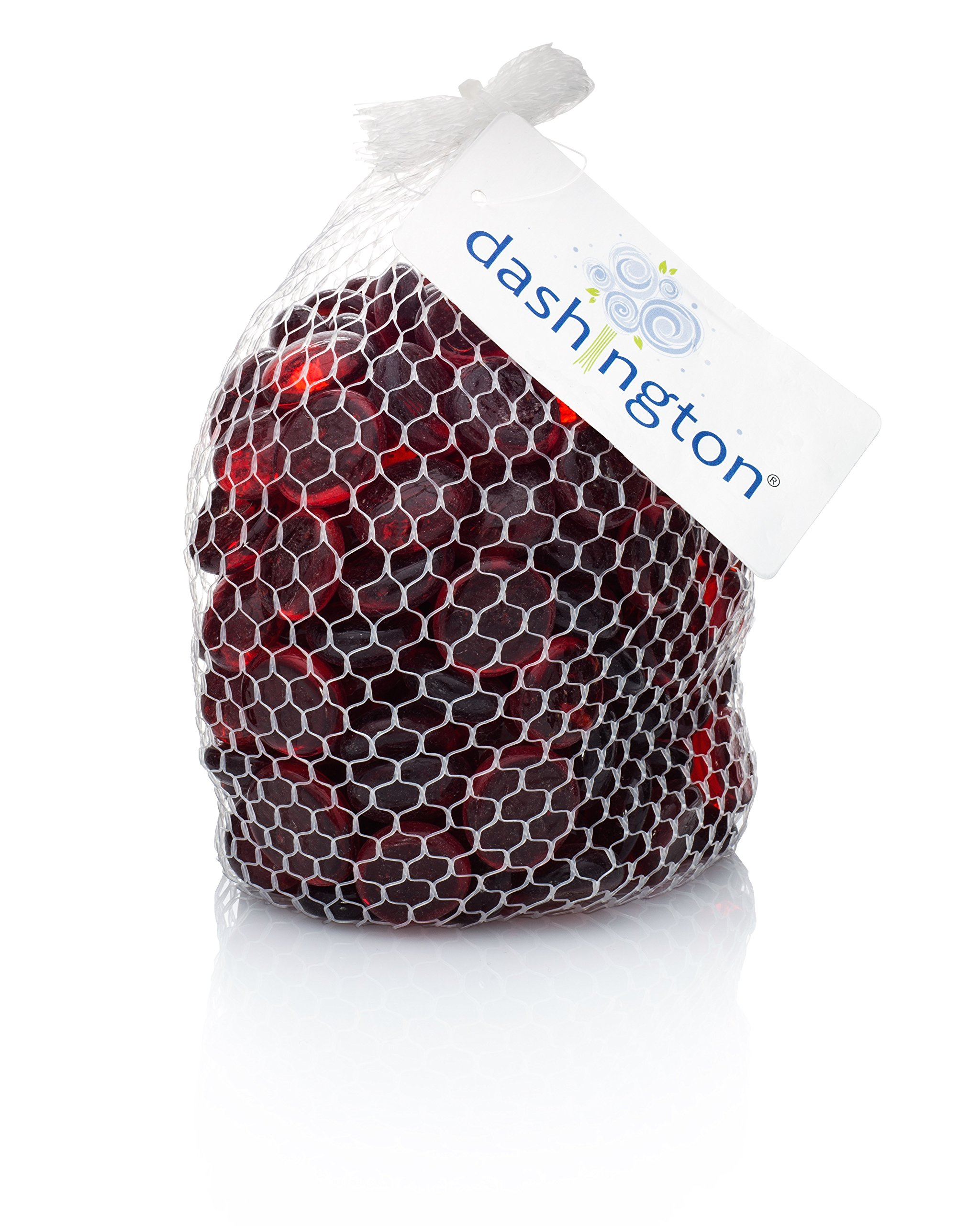 Dashington® Flat Red Marbles, Pebbles (2.5 Pound Bag) for Vase Filler, Table Scatter, Aquarium Decor, Approximately 250-300 Marbles