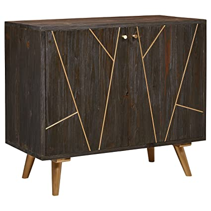 Amazon Com Rivet Modern Wood Buffet Bar Cabinet Credenza With Gold