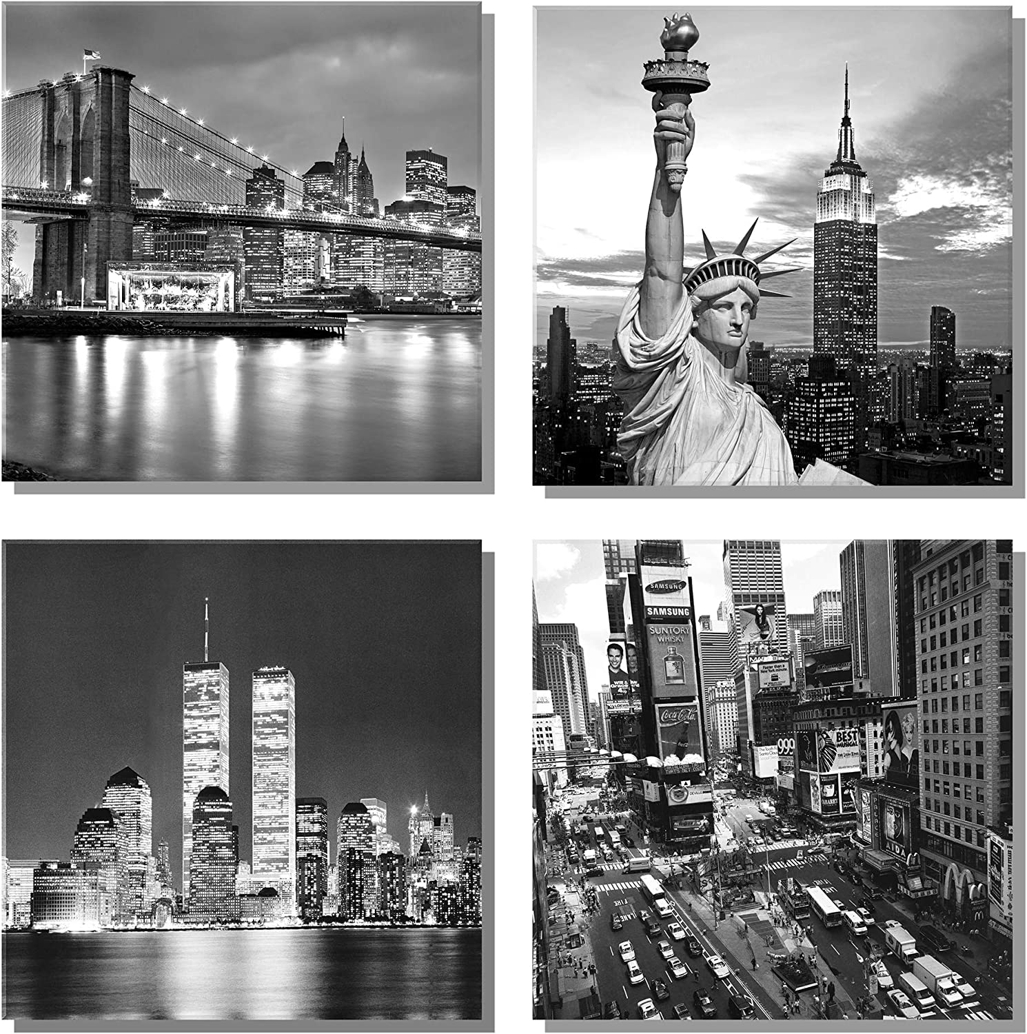 """789Art - New York City Canvas Art Black and White Brooklyn Bridge Statue of Liberty Empire State Building Contemporary Decorations for Living Room Office Bedroom Home Decor(12""""x 12""""x 4 Panels Framed)"""
